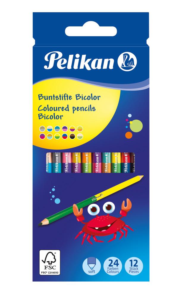 """Pelikan /""""Bicolor/"""" Buntstift im 12er Etui mit 24 Farben"""
