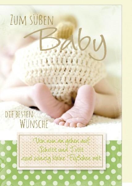 Karte Geburt Motiv Baby Füßchen und Baby Po