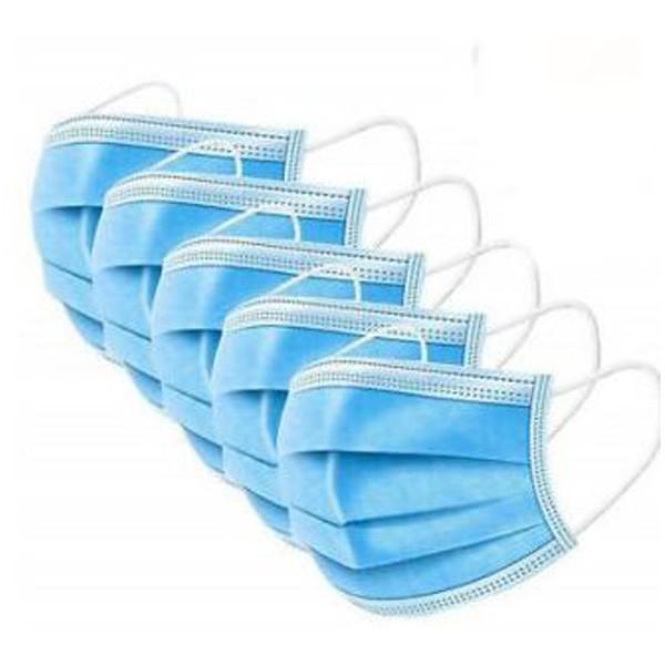 5er Pack Mundschutzmaske Einweg, Gesichtsmaske F1 blau, Einwegmasken 3lagig