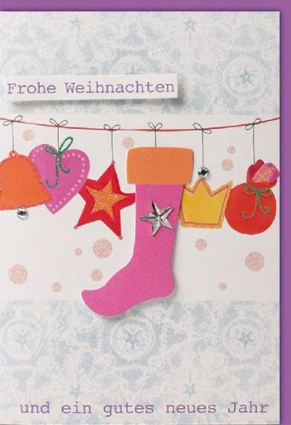 Karte Weihnachten Motiv Doppeltext Stiefel Herz