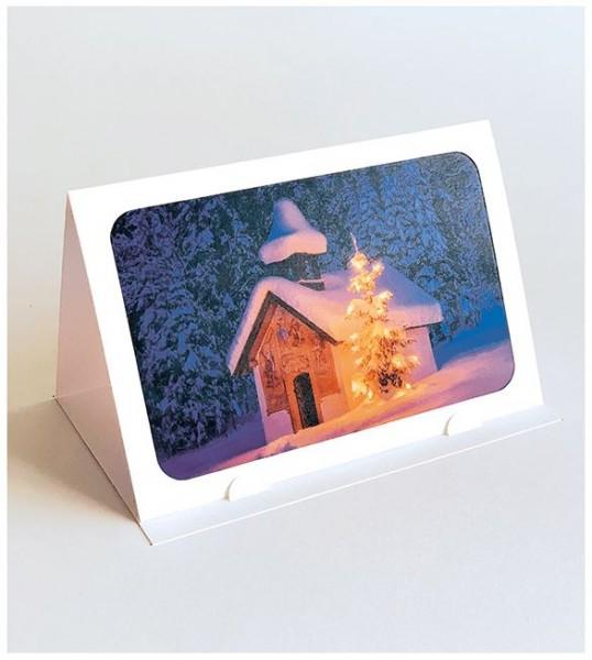 """Lichterzauber Weihnachtskarte """"Schneehütte"""", Stimmungsvolle Handmade Karte"""