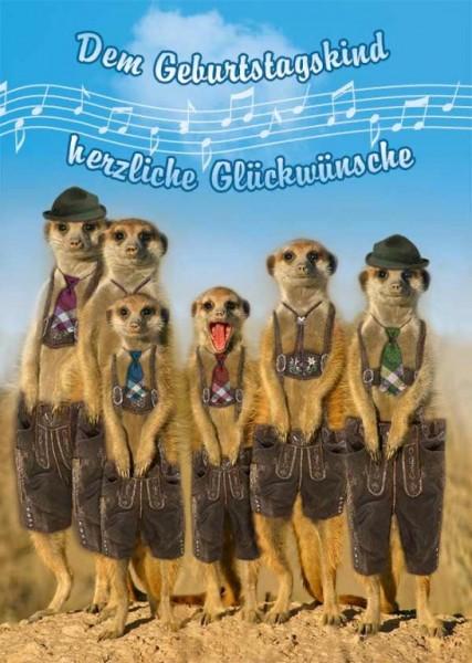 Geburtstagskarte mit Musik, Din A5 - Erdmännchen in Lederhosen - Zillertaler