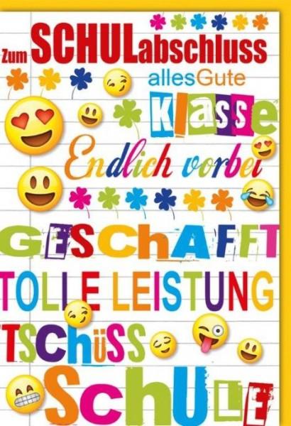 Karte Schulabschluss Spruch fröhliche Emojis
