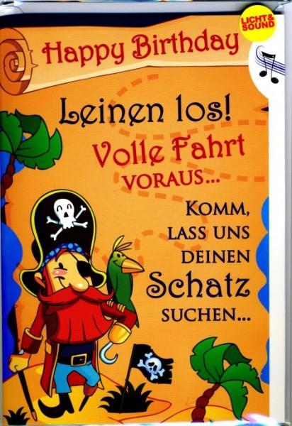 Geburtstagskarte mit Musik & Lichteffekten, Piratenmotiv - Kinder Geburtstag