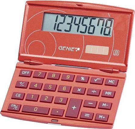 Taschenrechner Genie 200 rot klappbar 8-stellig