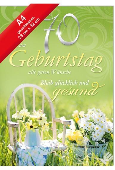 Geburtstagskarte XXL Jumbo - Din A4 - Zum 70. Geburtstag - Glücklich u. Gesund