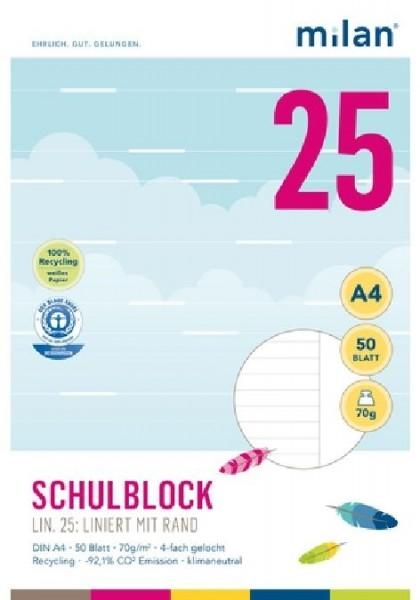 Schulblock Milan A4 70g 50Bl liniert mit Rand
