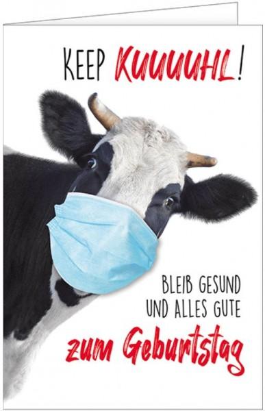 Geburtstagskarte, Kuh mit Mundschutz, Keep Kuuuuhl, Bleib Gesund