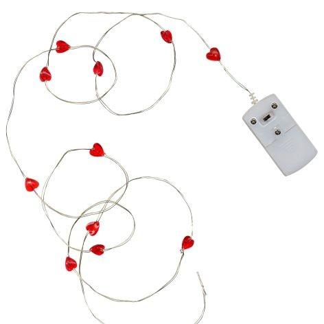 Lichterkette Draht String mit rote Herzen 12er LEDs | Lichterketten ...