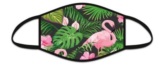 Mund Nasen Maske aus Stoff, Flamingo schwarz, waschbar bis 70°, kein Medizinprodukt