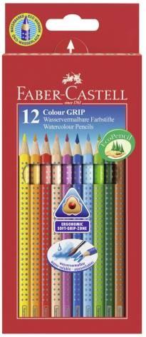 Faber-Castell COLOUR GRIP, 12er Etui Farbstifte, wasservermalbare Buntstifte