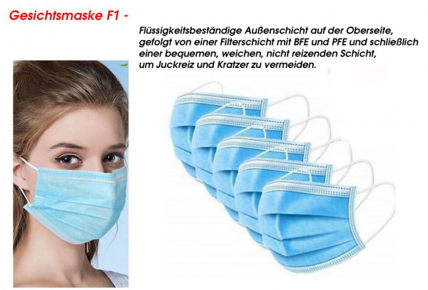 50er Pack Mundschutzmaske Einweg, Gesichtsmaske F1 blau, Einwegmasken 3lagig
