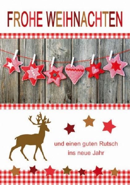 Karte Weihnachten Motiv Doppeltext mit Glimmer