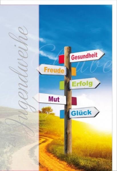 Karte Jugendweihe Motiv Wegweiser vor einem Weg