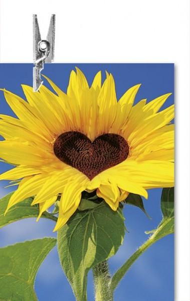 Karte Klammer ohne Text Sonnenblume mit Herz
