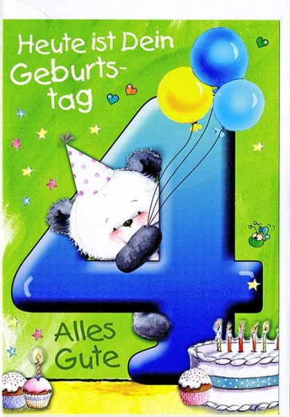 Karte Geburtstag Zahl 4 Kindergeburtstag