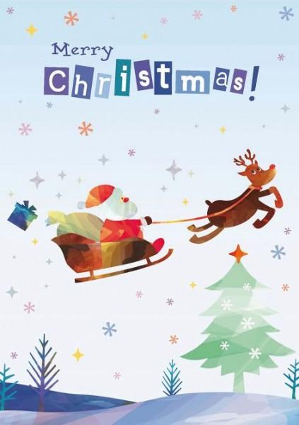 Karte Weihnachten Motiv International Schlitten