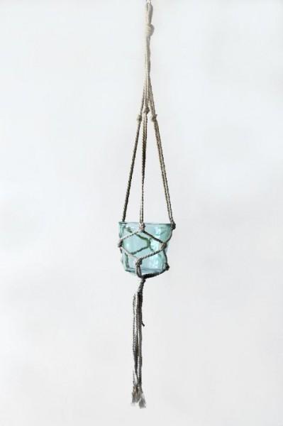 Deko Glas Topf mint im weissen Netz zum Hängen