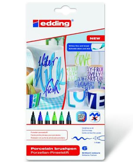 """Edding Porzellan-Pinselstift, 6er pack, """"Cool Colour"""""""
