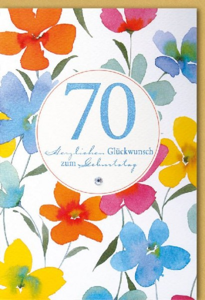 Karte Geburtstag Zahl 70 Aquarell bunte Blumen