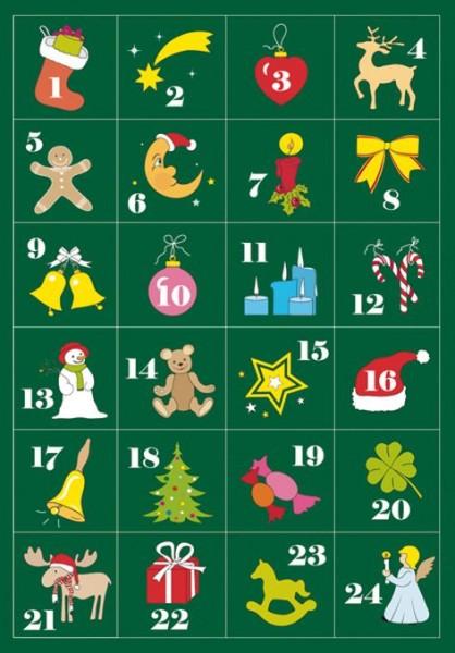 Sticker Adventkalender 1-24 Weihnachten