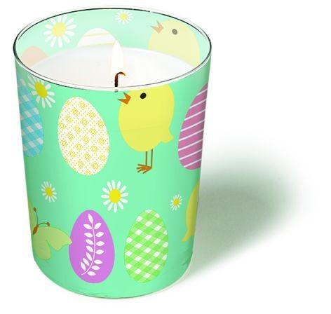 Glaskerze rund gross 10x8,5cm Easter allover