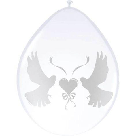 Luftballon 30cm 8 Stück weiß Hochzeit Tauben