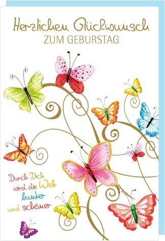 Karte Geburtstag Schrift Schmetterlinge pastell