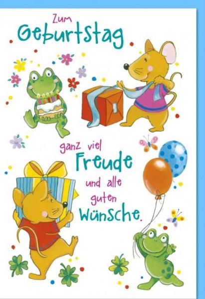 Karte Geburtstag Kinder Frösche und Mäuse mit