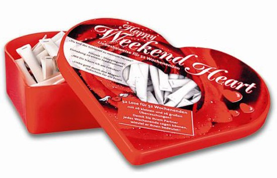 Happy Weekend Heart Herz Geschenkbox mit 52 Losen für Liebesbotschaften