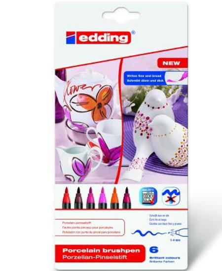 """Edding Porzellan-Pinselstift, 6er pack, """"Warm Colour"""""""