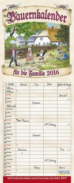 Familienplaner Bauernkalender 4 Spalten