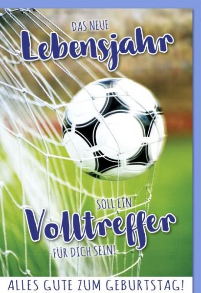 Karte Geburtstag Motiv Fussball Volltreffer