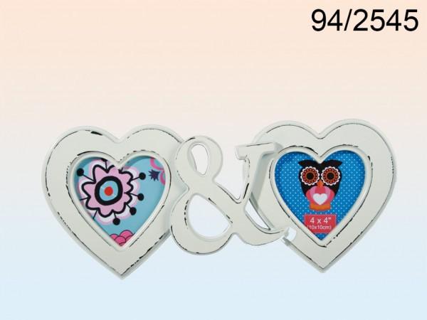Bilderrahmen Kunststoff 2 Herzen elfenbeinfarben