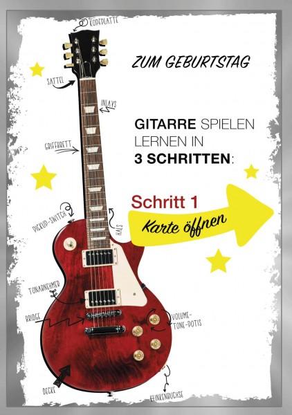 """Maxximal Cards - """"Gitarre spielen lernen in 3 Schritten"""" - A4 Geburtstagskarte - Happy Birthday mit"""