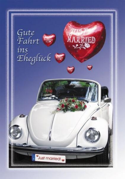 Hochzeitskarte mit Musik, Din A5 - Weißer VW Käfer mit Ballon - Marry You