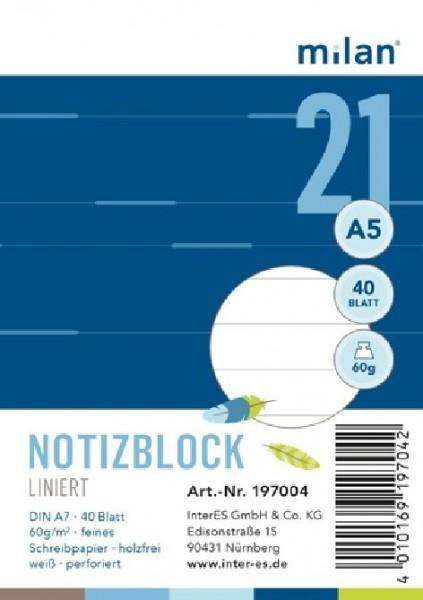 Spiral-Notizblock Milan A7 40Bl 60g liniert
