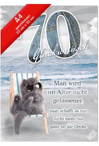 Geburtstagskarte XXL Jumbo - Din A4 - Katze im Liegestuhl- 70, Spruch, Glimmer