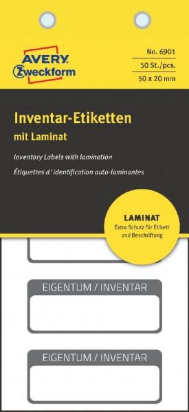 Inventaretikett 50x20mm mit Laminat 50ST schwarz