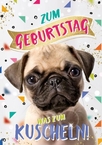 """Great Cards """"Mops, Streichelhund - Bitte streichel mich"""" - Geburtstagskarte mit Touch"""