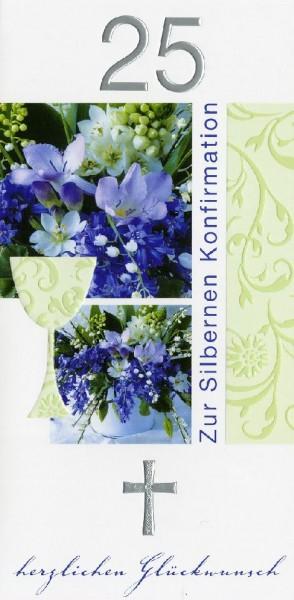 Karte Konfirmation Silber Blumen blau