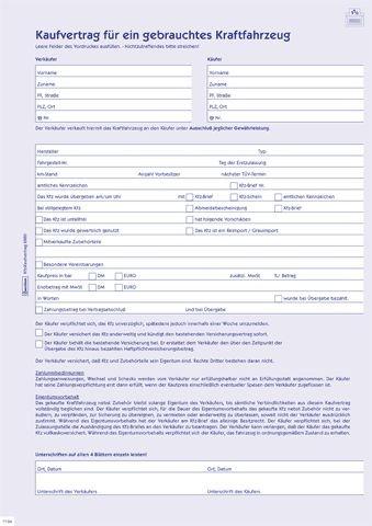 Kaufvertrag Sd A4 5Bl für gebrauchtes Kfz