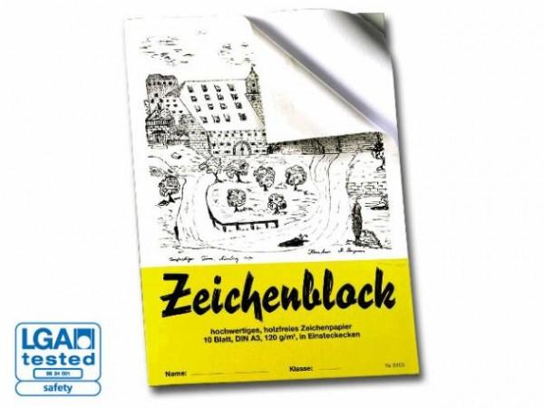 Zeichenblock mit Leinen- Ecken A4 10 Blatt 120G