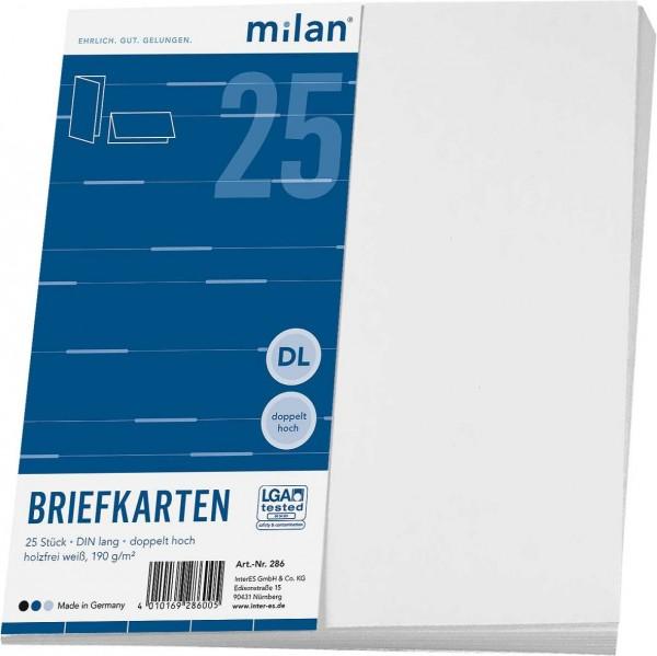 Milan Briefkarte DIN-lang weiss 25er doppelt hoch