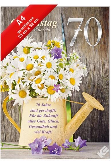 Geburtstagskarte XXL Jumbo - Din A4 - 70. Geburtstag - Margeriten in Gießkanne