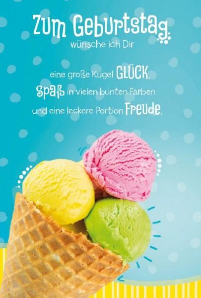 Karte Geburtstag Motiv Portion Eis
