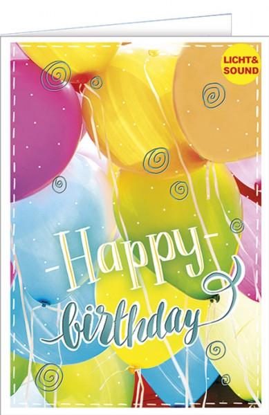 Geburtstagskarte mit Musik u. Licht - Musikkarte Luftballons, Happy Birthday