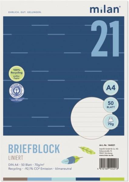 Briefblock Milan A4 70g 50Bl liniert ungelocht