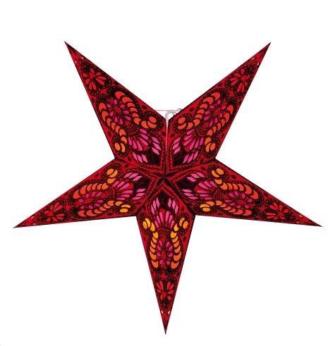 Beleuchtung Papier Stern 5zackig rot schwarz 60cm