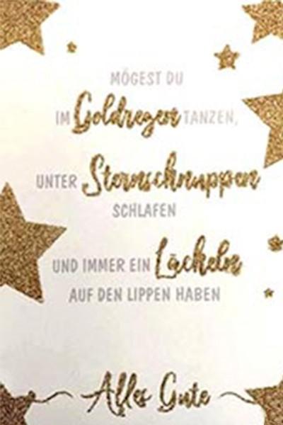 Geburtstags,- Glimmerkarte mit Musik, Din A5 - Goldregen und Sternschnuppen